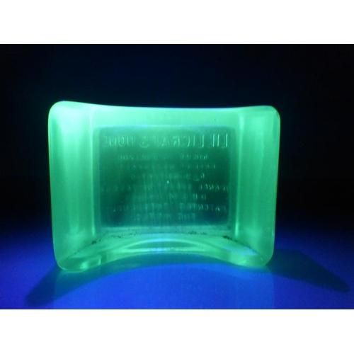 23 - Vintage Uranium Glass Razor Blade Stand marked Lillicraps Hone...