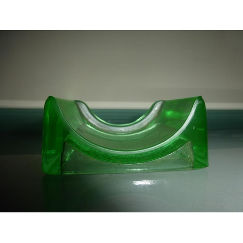 23 - Vintage Uranium Glass Razor Blade Stand marked Lillicraps Hone...