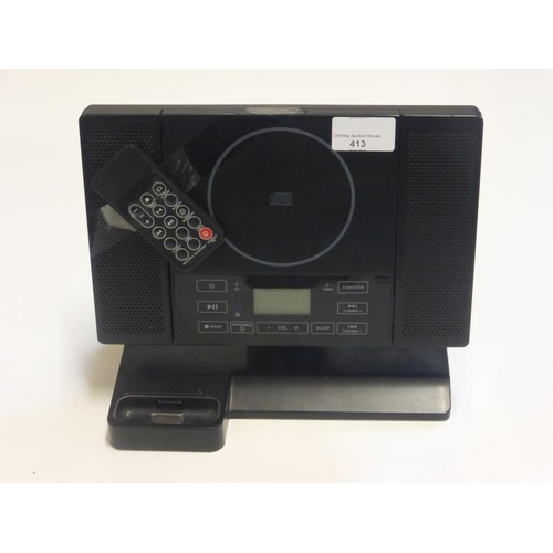 413 - Compact disc player and docking station (no leads)...