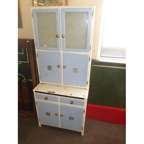 446 - Retro kitchenette painted blue with glass drawers...