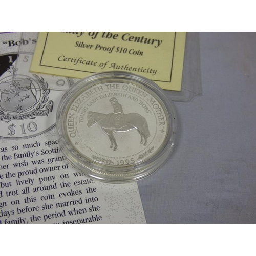 48 - Royal Mint 1995 Western Samoa silver proof $10 Coin with certificate of authenticity...