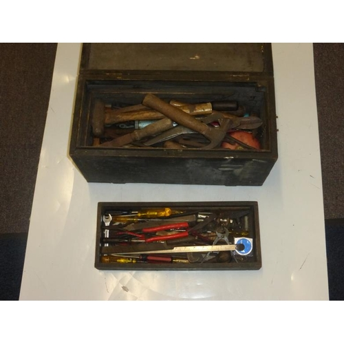 522 - Wooden tool box complete with large collection of vintage tools...