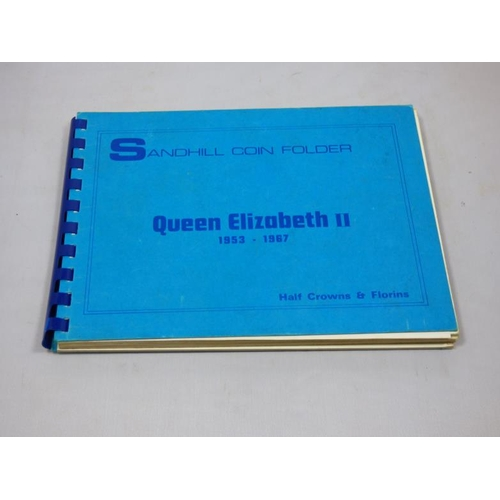 62 - Sandhill Coin folder containing part collection of Queen Elizabeth II 1953-1967 Half Crowns & Florin...