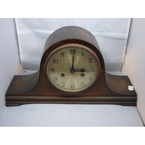 67 - Vintage wood cased Napoleon mantle clock complete with pendulum...