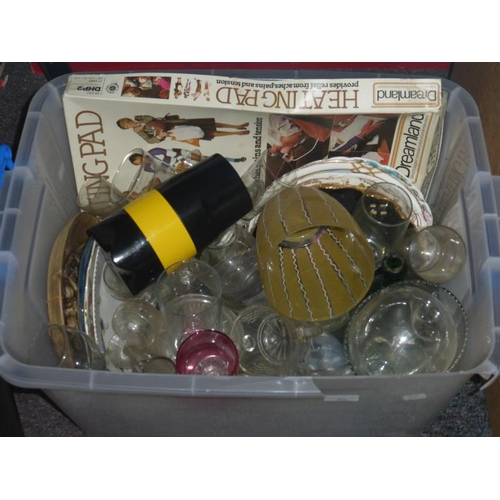 639 - Mixed lot of glassware, ceramic plates, heat pad and other...