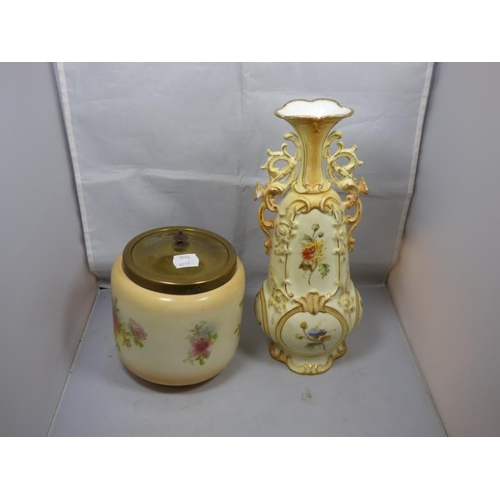 188 - Porcelain China Vase and porcelain Jar with lid...