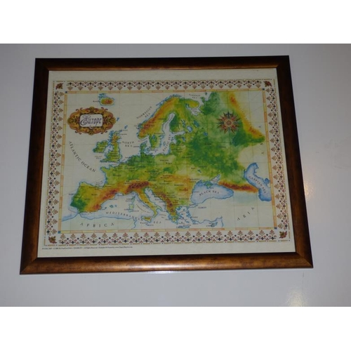 195 - Framed and glazed map of Europe...