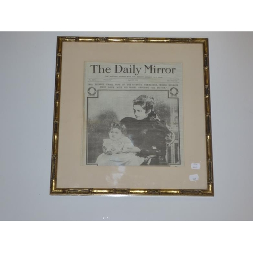 212 - Gilt bamboo styled framed newspaper cutting of The Daily Mirror Featuring the Wife of The Commander ...