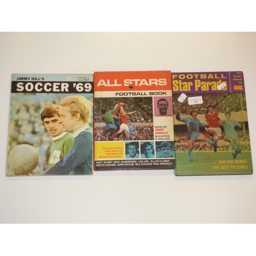 221 - Three vintage football annuals includes Old Stars football book 1968...
