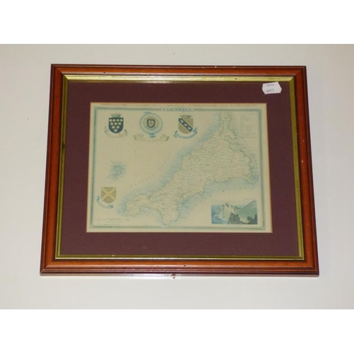 227 - Vintage Framed and Glazed Map of Cornwall...