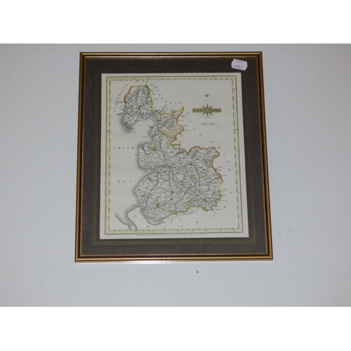 244 - Framed and Glazed Map depicting Lancashire in 1787 from The original engraving by J Cary...