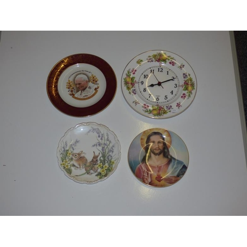 247 - Three Commemorative Plates including Royal Albert, Royal Doulton and Wall mounted Clock Plate...