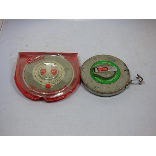 256 - Two Chesterman Rabone tape measures 66ft...