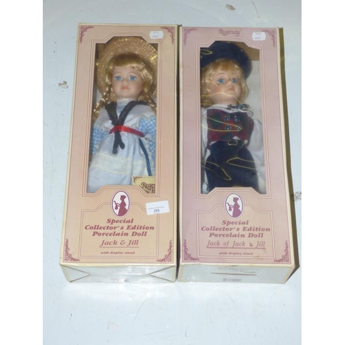 269 - Two Regency Fine Arts Special Edition Collectors Porcelain Dolls (Jack and Jill)...
