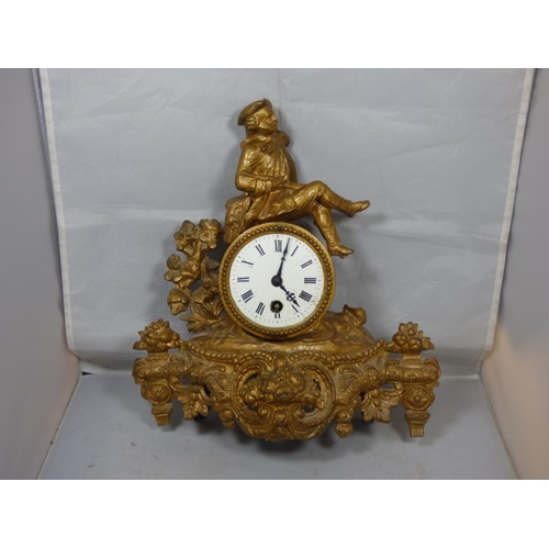 276 - Heavy Ornate Gilt Mantel Clock A/F...