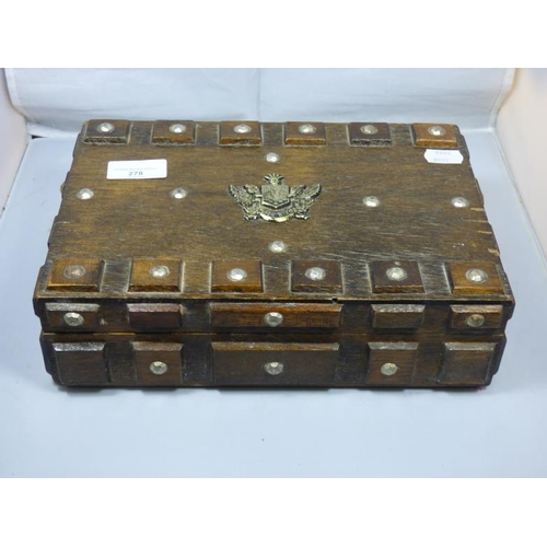 278 - Vintage Wooden Jewellery Box with Family Crest Decoration...