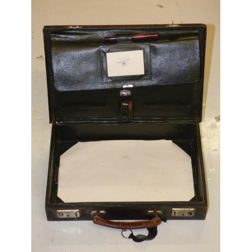 281 - Vintage Leather Covered Stationary Atachie Case with Fountain Pen circa 1920...
