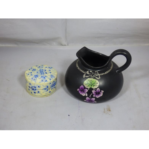 301 - Shelley Violette Hand Painted Jug and Paper Mache Trinket Holder...