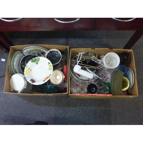 401 - Two boxes includes mixed glass, vases, ceramics and other...