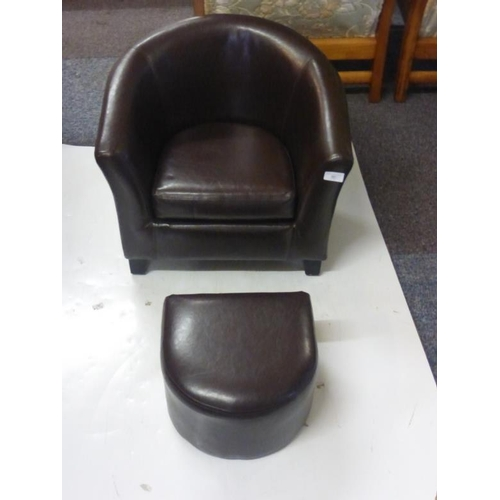 591 - Childs Brown Faux Leather Chair and Foot Stool...