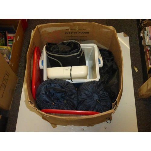 623 - Large selection of camping equipment includes sleeping bags, ice box and other...