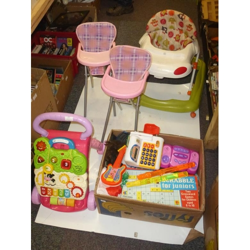 640 - Mixed lot of children's toys includes Child's walker and chair...
