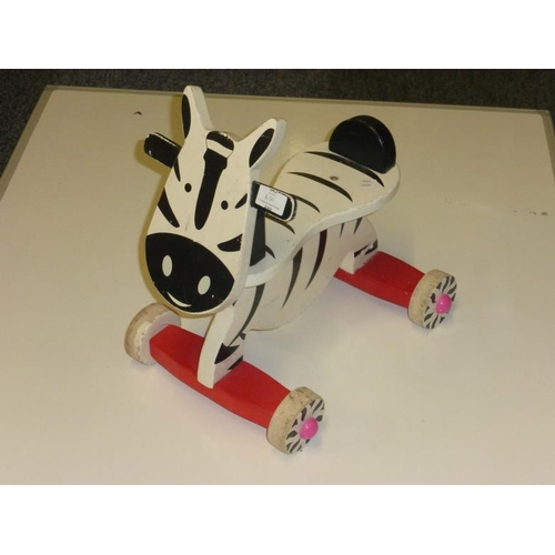 650 - Wooden Childs Ride on Zebra Toy...