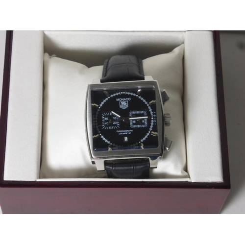 1 - Tag Heuer Monaco Chronograph Wrist Watch (Working) with Leather Strap and Presentation Box. (Sold as...