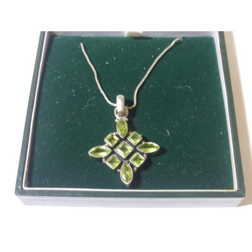 2 - Silver necklace with Green stoned pendant...