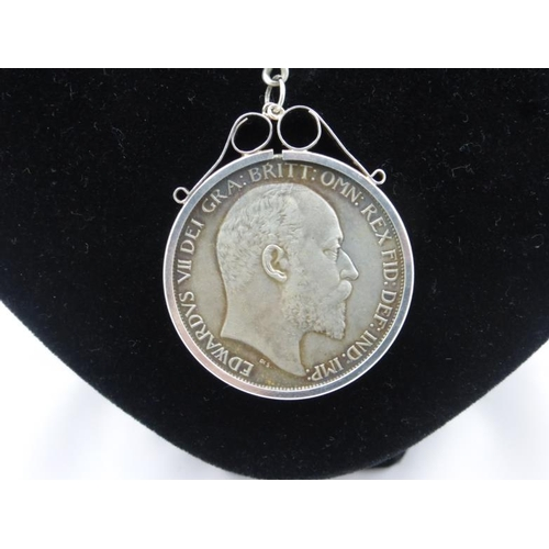 1 - Edward VII Silver Crown 1902 Mounted in Watch Albert...