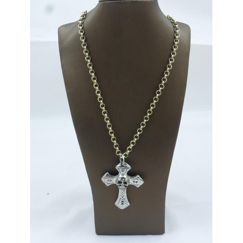 1 - Gothic Skull and Cross Pendant on Hallmarked Birmingham Silver link on a Curb Link Chain...