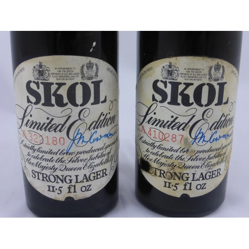 26 - Two Bottles of Limited edition Silver jubilee Skol in serial numbered bottles