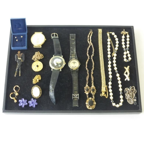 43 - Mixed Tray of Jewellery Including Watches, Brooches, Necklaces, Bracelets and Lots More