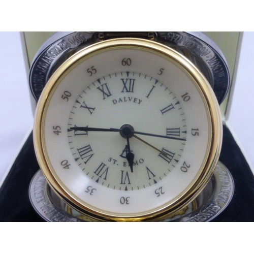 45 - Scottish Dalvey Silver Plated Travel Clock in Box
