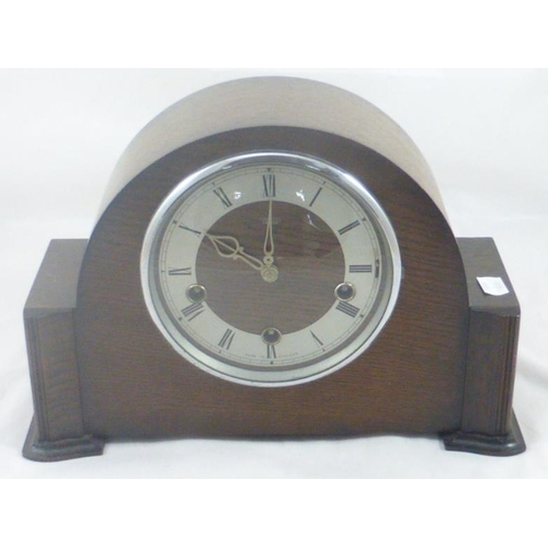 2 - Smiths Enfield Oak Cased Mantel Clock Complete with Key and Pendulum...