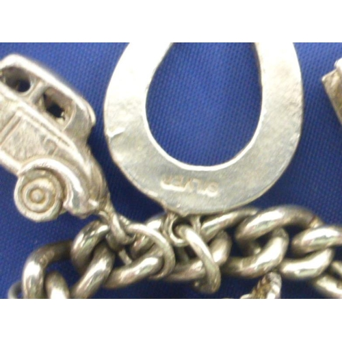 2 - Vintage Silver Hallmarked Charm Bracelet with Selection of Charms...