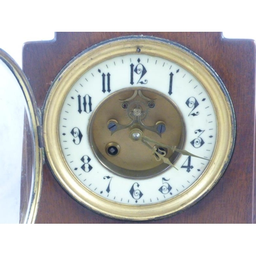1 - Stunning Art Deco Wood Cased Mantel Clock With Rear opening Doors and Circular Face comes complete w...