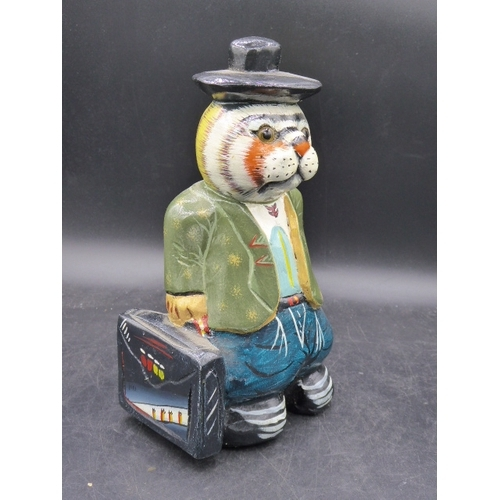 38 - Wooden Cat Figure with Suitcase (8