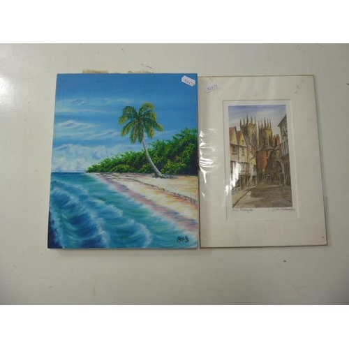 51 - Two prints to include Beach scene and Village Scene...