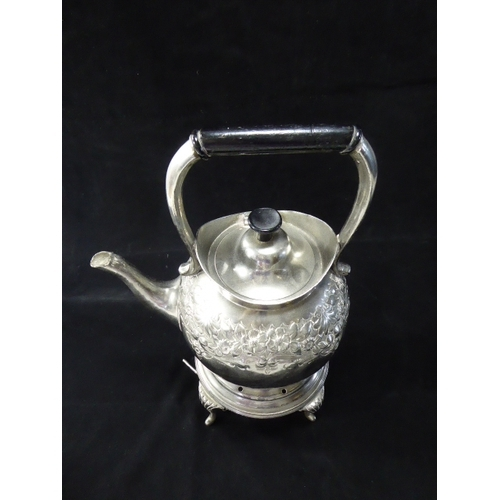 40 - Antique Silver Coated Hinged Spirit Kettle with Stand and Burner...