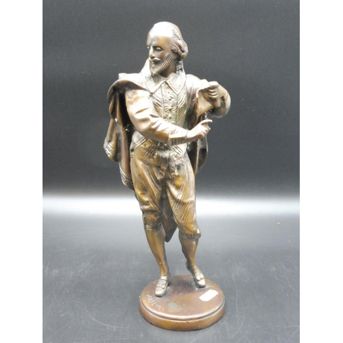 2 - A Bronze or cast metal Study of William Shakespeare base bears signature Poltevia, 13
