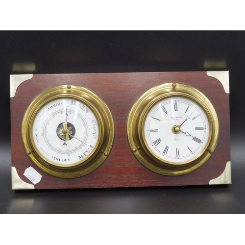 10 - W.Widdop Clock and Barometer mounted on wooden Plinth...