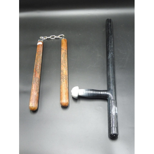 13 - Police Night Stick and Pair of Nunchucks...