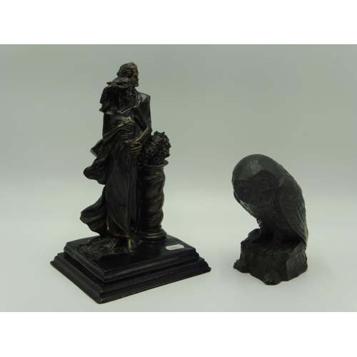 15 - Two Bronzed Figurines Depicting Married Couple and Owl (11