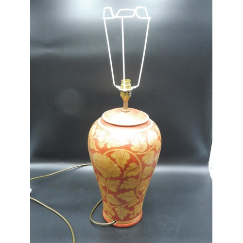 25 - Ceramic Flower themed lamp base with no shade (14
