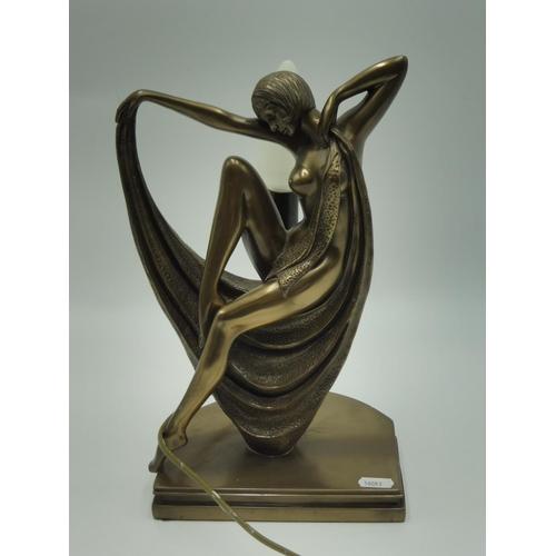 29 - Art Deco Bronzed Naked Lady lamp (13