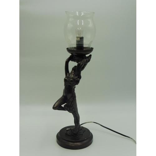 34 - Rossa Art Deco Bronzed Lamp (Working)...