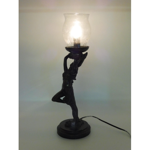 34 - Rossa Art Deco Bronzed Lamp (Working)...