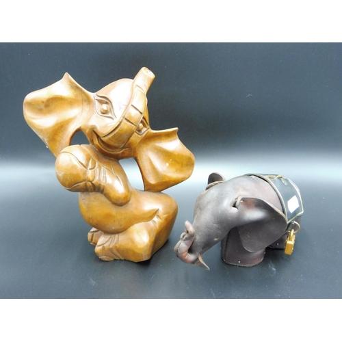 39 - Leather Elephant Money Box and Wooden Elephant figure...