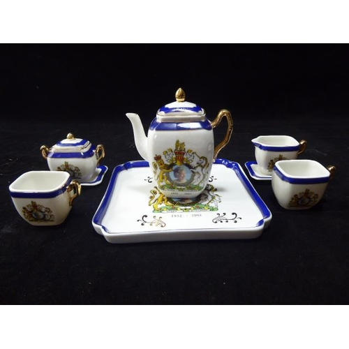 44 - QE2 Jubilee Miniature Porcelain Coffee Set and tray...
